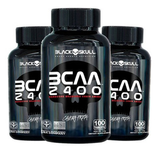 Kit Atacado: 3 Bcaa 2.400mg 100 Tabletes - Black Skull