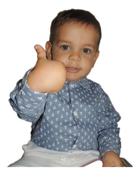 Blusa Social Masculina Tricoline Jeans Ancora Infantil