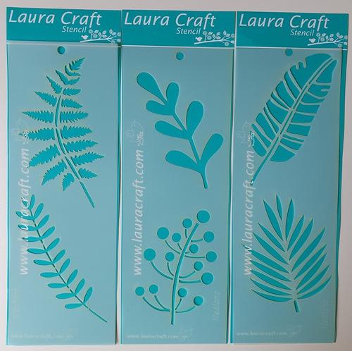 Stencil Laura Craft Set Hojas De La Selva