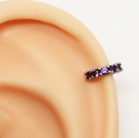 Piercing Helix Clicker 6mm Rodio Negro Pedra Ametista