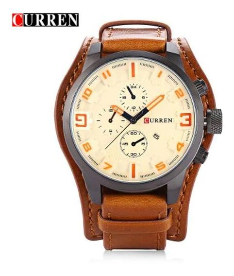 Relógio Masculino Curren 8225 Orange Sport Aço Inoxidável