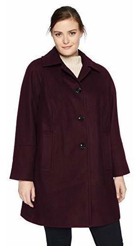 London - Abrigo De Lana Con Bufanda Para Mujer, Tamaño Gran