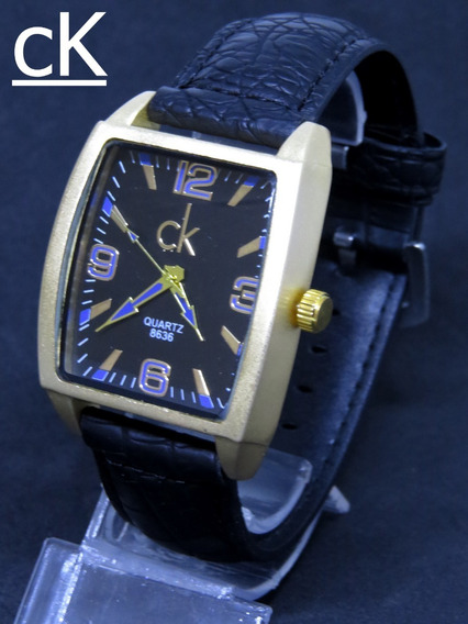 Relógio Quadrado Dourado Ck Original Couro Masculino Oferta