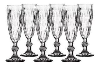6 Taça Champagne Diamond Transparente 140 Ml Lyor Ref 6506