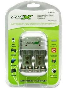 Carregador Rápido Pilhas Aa - Aaa E Bateria 9v Flexgold