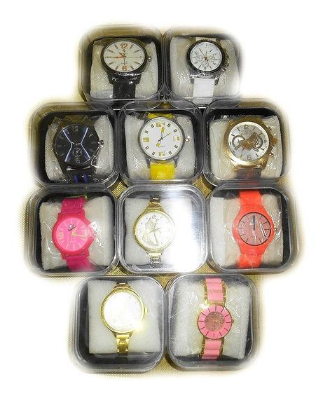 Kit C/ 10 Relógios Quartz 50% Off + Brinde E Caixas