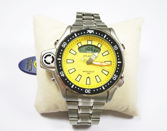 Relógio Aqualand Atlantis Jp2000 A3220 Aço Amarelo Original