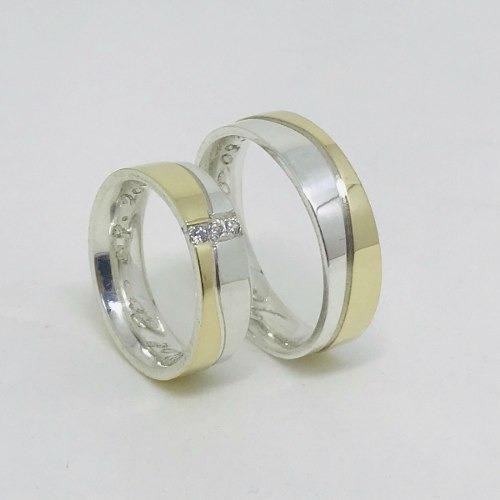 Par Aliança Prata 950 E Ouro 18k 6mm Ref 20110