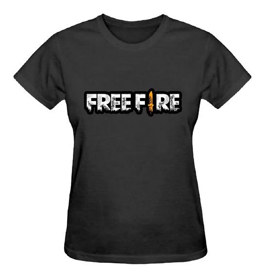 Camiseta Baby Look Feminina Free Fire Escrita Jogo Camisa