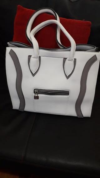 Cartera Bendita Bag Modelo Celine Gris Y Blanco
