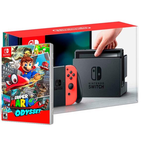 Nintendo Switch 32gb Cinza + Jogo Mario Odyssey Ou Zelda
