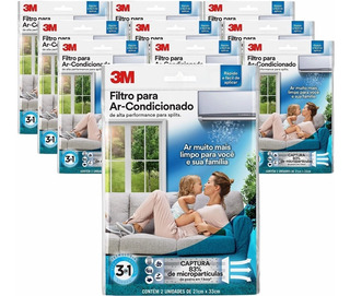 Kit Filtros Ar Condicionado Split - 3m Kit C/10 Pacotes