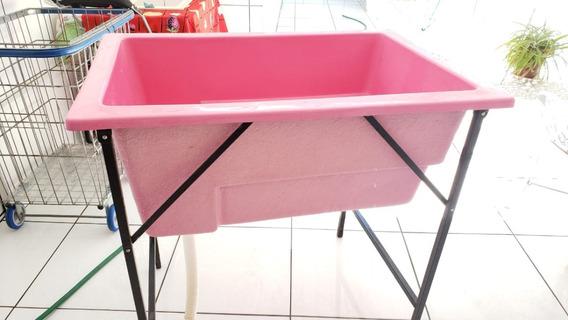 Banheira De Fibra Com Degrau Para Pet Shop Rosa Usada