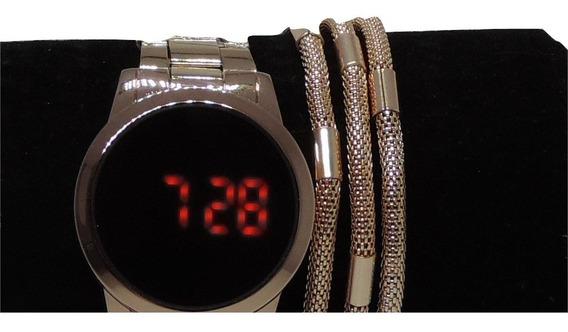 Combo Relógio Digital + Pulseira Na Cor Rose Super Luxo