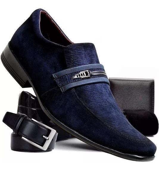 Kit Sapato Masculino Couro Tecnológico+carteira+cinto+meia