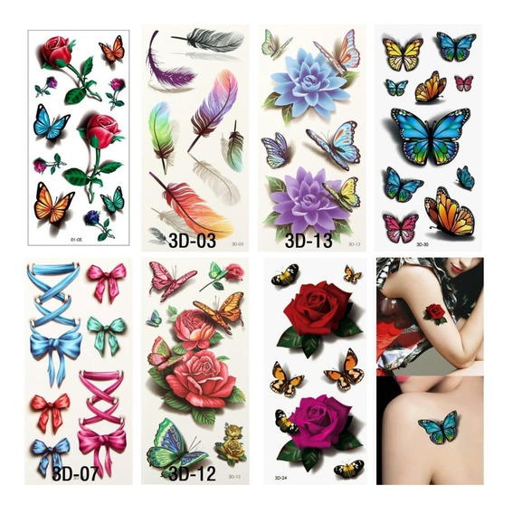 Kit 3d Tatuagem Temporária 7 Cartelas Com Varias Tattoo Fake