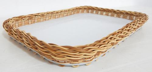 Imagem 1 de 2 de Bandeja Retangular Vime Sintética Lavável  Ref.7592 33x23x04
