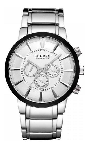 Relógio Masculino Curren Analógico 8001 - Prata Preto Branco