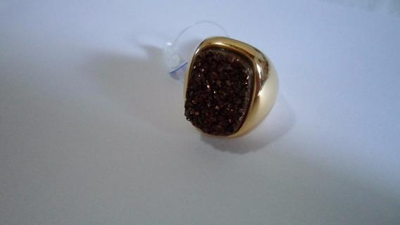Anel De Pedra Druza Cobre Quadrada 1,9 X 1,4 Tamanho 20