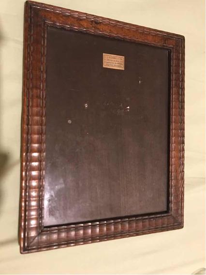 Porta Retrato Antigo Madeira Entakhada