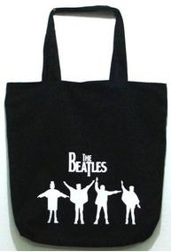 Bolsa The Beatles Preta Banda Sacola Ecobag Grande Ziper