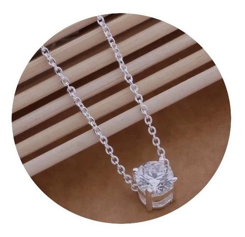 Imagen 1 de 2 de Collar Para Mujer Plata Ley .925 Con Zirconia
