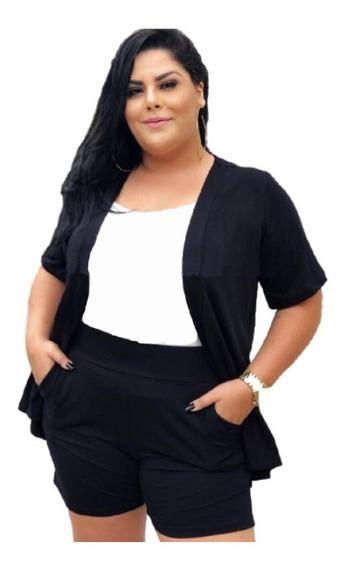 Conjunto Feminino Plus Size Short Bolsos Cardigan Blogueira