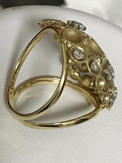 Anel Em Ouro 18k Com Diamantes, Peso: 9,3 Gramas
