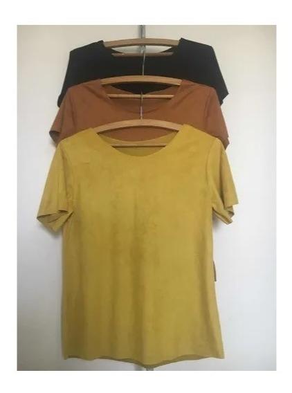 Blusa Suede Blusinnha Feminino T-shirt Kit Com 5 Blusas