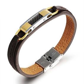 Bracelete Pulseira Masculina Couro. Aço Inoxidável. Carbon.