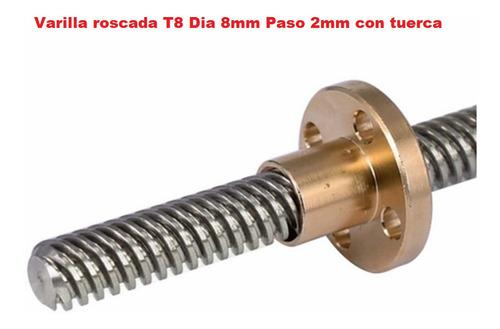 Varilla Roscada T8 Dia 8mm Paso 2mm Largo 1200mm Con Tuerca