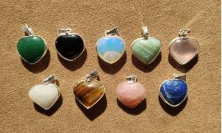 Dijes Corazón - Piedras Semi Preciosas - Llama Sagrada
