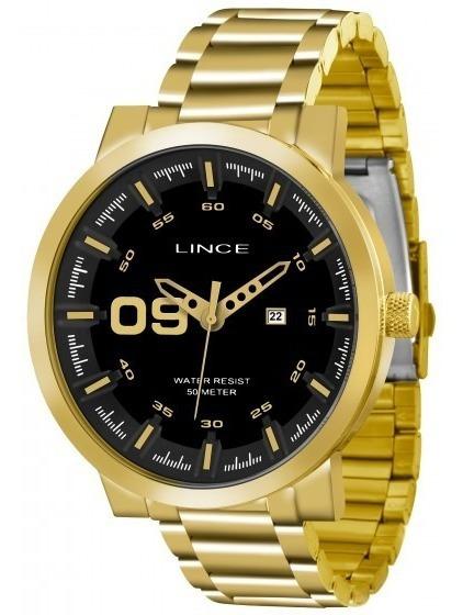 Relógio Lince Mrgh017s P2kx Dourado Redondo Preto - Refinado