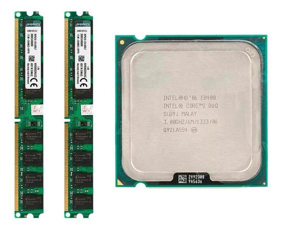 Kit 4gb Memoria Ddr2 (2x2) 800mhz + Core 2 Duo E8400 Lga775