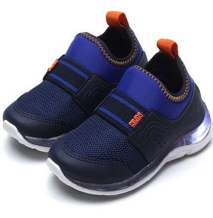 Tênis Prático Slip Azul Infantil Menino Prático Confortável