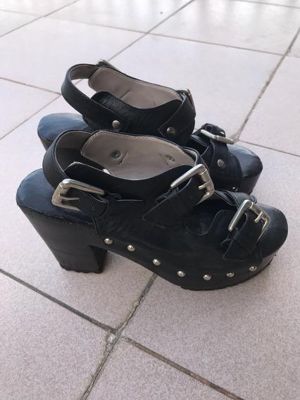 Zapato De Plataforma De Cuero Ecológico Negro Talle 6