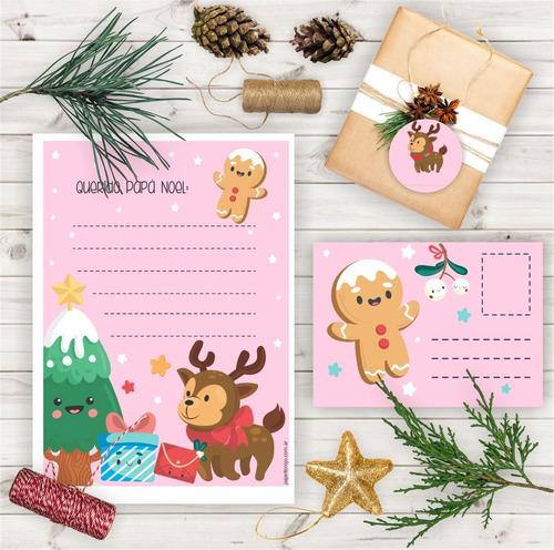 Kit Navidad - Carta Santa-papa Noel Rosa