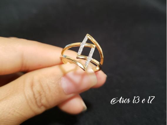 Anel Triangular Folheado Ouro 18k Amarelo E Ouro Branco