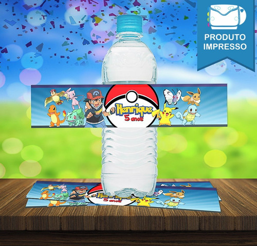 30 Rótulo Adesivo Água 500ml Tema Pokémon + Frete Grátis
