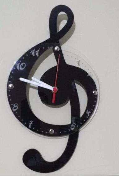 Relógio De Parede Em Acrílico Nota Musical - Clave De Sol