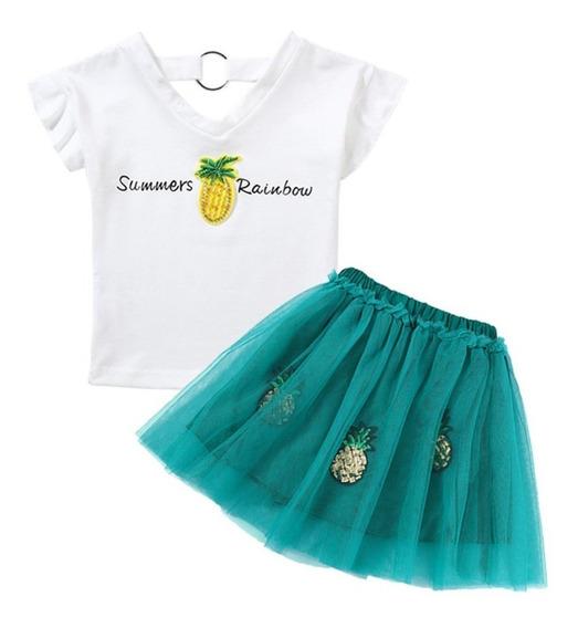 Vestido Conjunto Piña Falda Tutu Niña