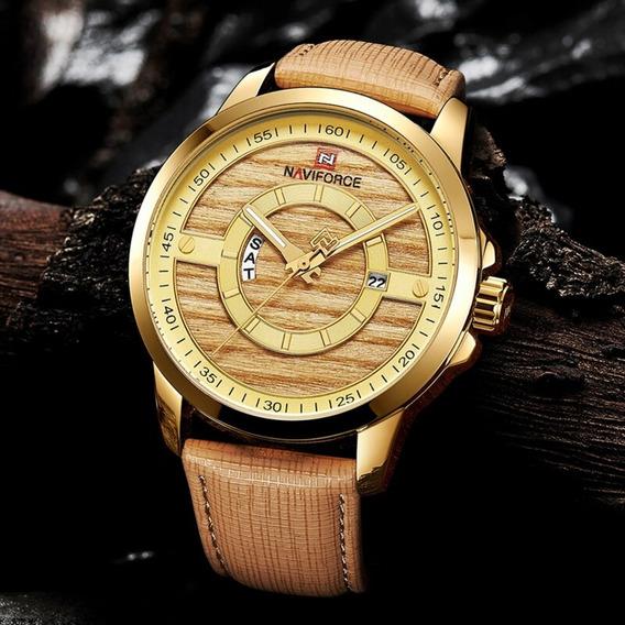 Relógio Pulseira Couro Dourado Esporte Fino 9151 Caixa Deaço