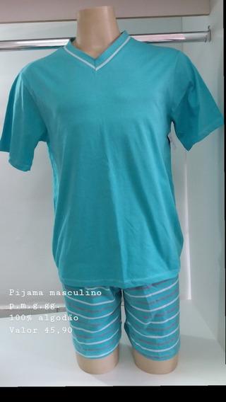 Pijama Masculino Curto-short Listrado Algodão