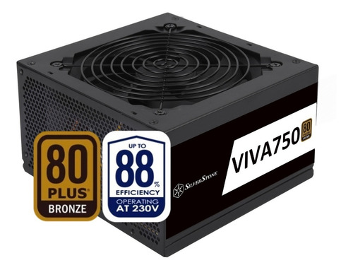 Imagen 1 de 10 de Fuente Silverstone Viva750 750w Certificada 80 Plus Bronze