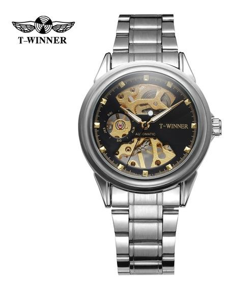 Relógio Skeleton Automático T-winner + Caixa, 100% Original