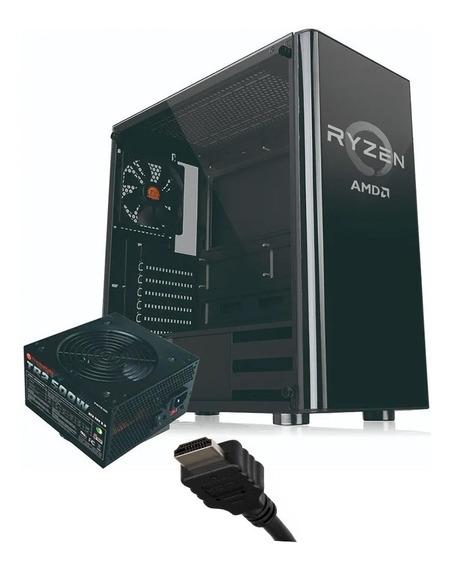 Gabinete Gamer Noganet Atx Vidrio Fuente 600w + Cable Hdmi