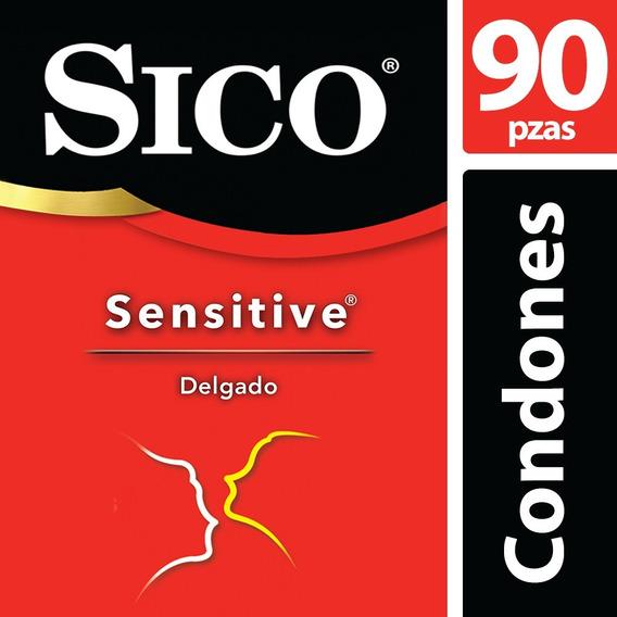 Kit Condones Látex Natural Sensitive Liso 90 Piezas Sico