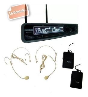 Microfono Moon Doble Vincha Inalambrico Mi02udhh Uhf Headset