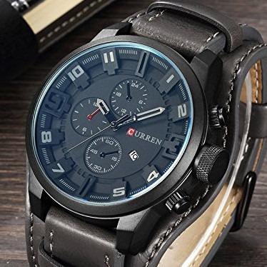 Relógio Masculino Curren Original 8225 Couro Importado Preto