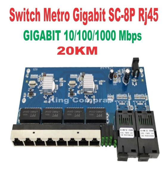Switch Placa Rede Metro Giga Gigabit 1000mbps Sc 2p A+b